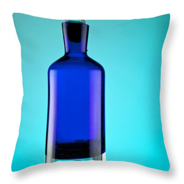 Blue Bottle Throw Pillow by Michelle Wiarda