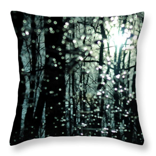 Blue Burns The Twilight Throw Pillow by Rebecca Sherman
