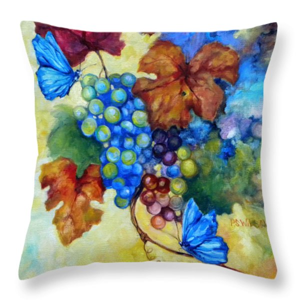 Blue Butterflies And Grapevine  Throw Pillow by Peggy Wilson