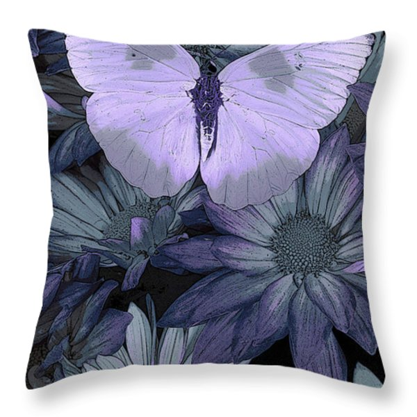 Blue Butterfly Throw Pillow by JQ Licensing