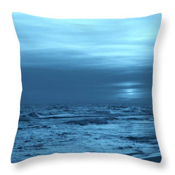 Blue Evening Throw Pillow by Sandy Keeton