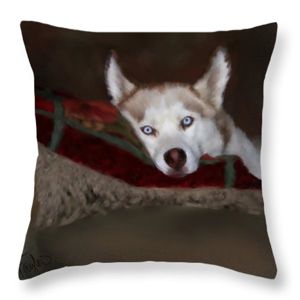 Blue Eyes Throw Pillow by Colleen Taylor