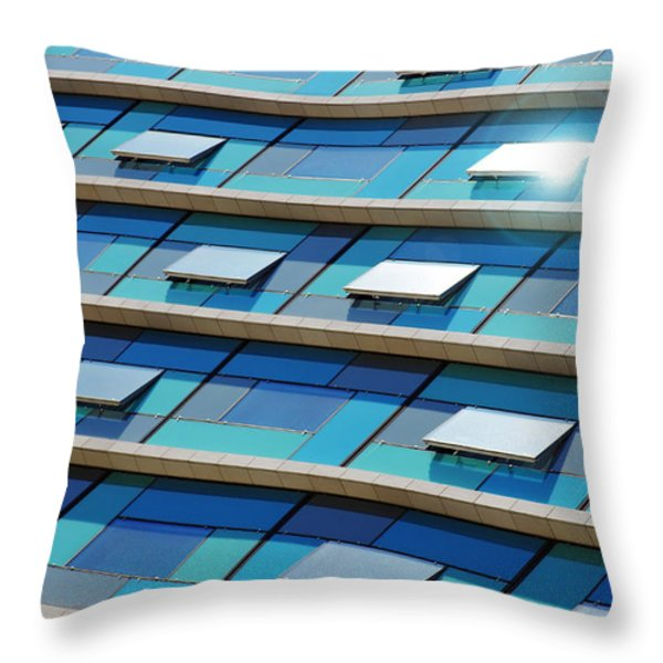 Blue Facade Throw Pillow by Carlos Caetano