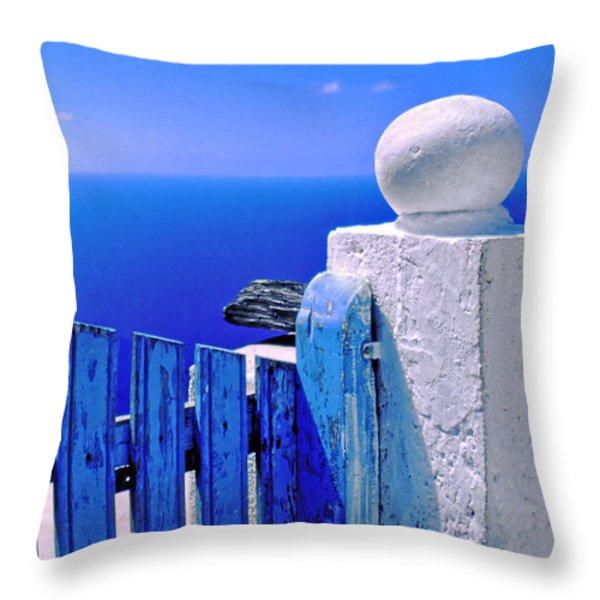 Blue gate Throw Pillow by Silvia Ganora