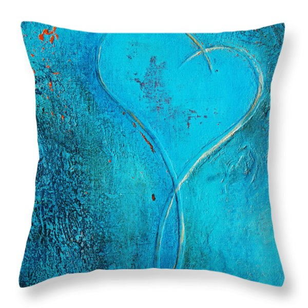 Blue Heart Abstract Throw Pillow by Anahi DeCanio
