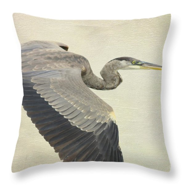 Blue Heron On Canvas Throw Pillow by Deborah Benoit
