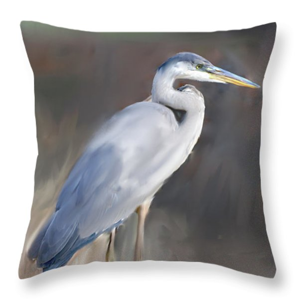 Blue Heron Painting IIi Throw Pillow by Don  Wright