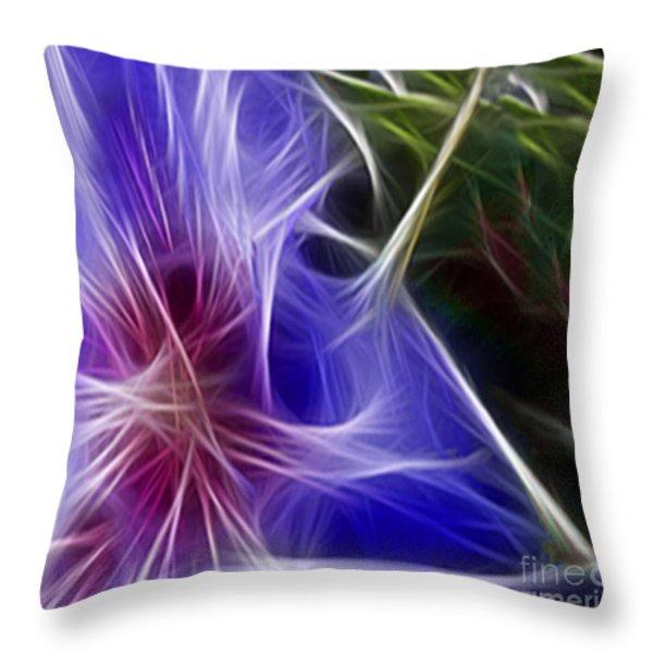 Blue Hibiscus Fractal Panel 1 Throw Pillow by Peter Piatt