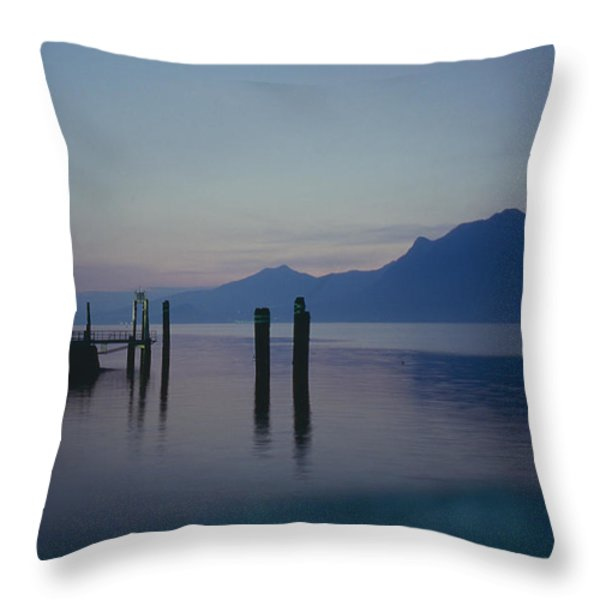 Blue Hour At Dawn On Lago Maggiore Throw Pillow by Heiko Koehrer-Wagner