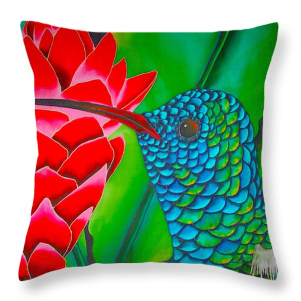 Blue Hummingbird Throw Pillow by Daniel Jean-Baptiste