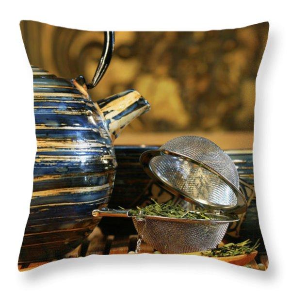 Blue Japanese teapot Throw Pillow by Sandra Cunningham