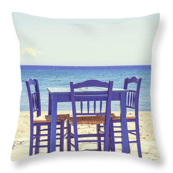 Blue Throw Pillow by Joana Kruse