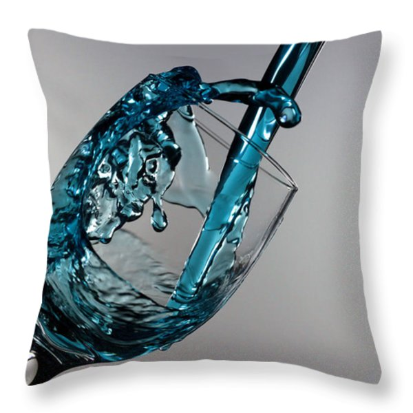 Blue Martini Splashing From A Wine Glass Throw Pillow by Paul Ge