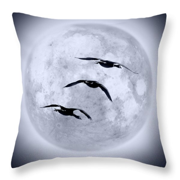 Blue Moon Geese Throw Pillow by Brian Wallace