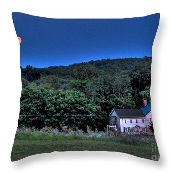 Blue Moon Throw Pillow by Guy Harnett