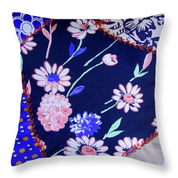 Blue on Blue Throw Pillow by Bonnie Bruno
