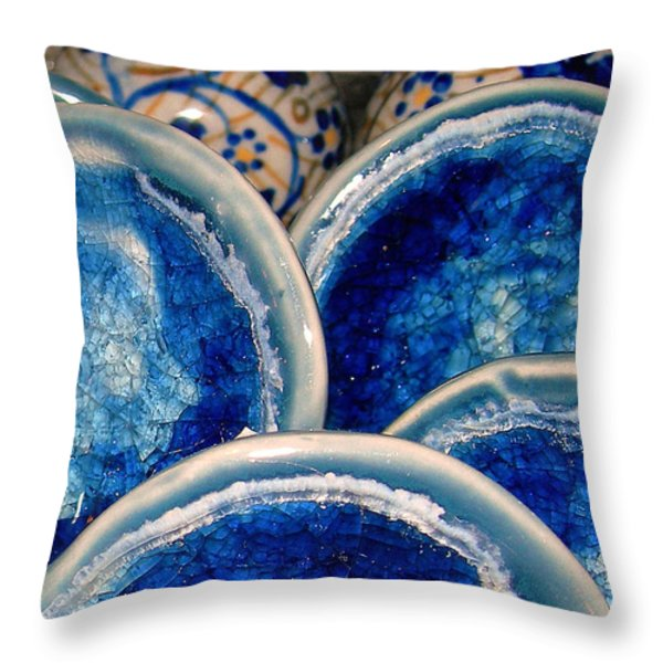 Blue On Blue Throw Pillow by Judi Bagwell