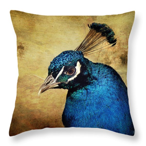 Blue Peacock Throw Pillow by Angela Doelling AD DESIGN Photo and PhotoArt