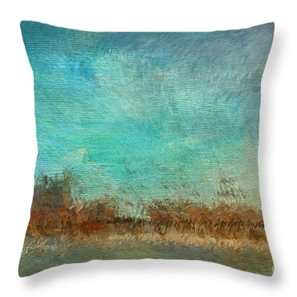 Blue Sky And Beach Throw Pillow by Deborah Benoit