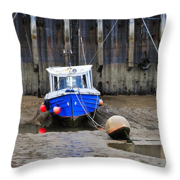 Blue Small Boat Throw Pillow by Svetlana Sewell