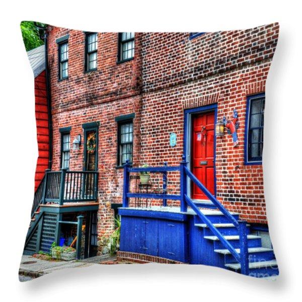 Blue Steps Throw Pillow by Debbi Granruth