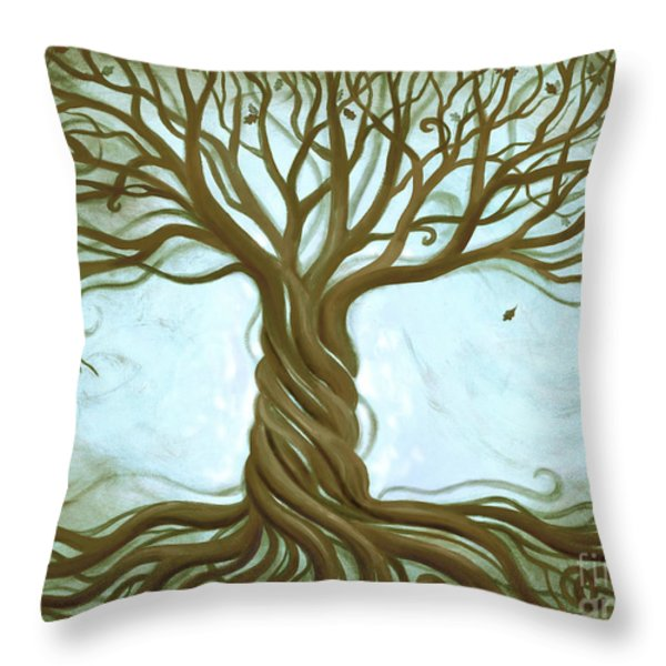 Blue Tree of Life Throw Pillow by Renee Womack