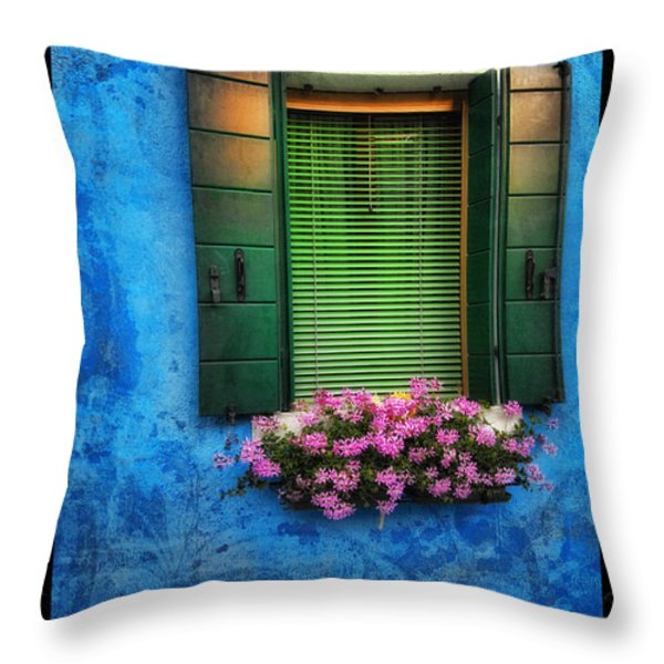 Blue Wall Throw Pillow by Mauro Celotti
