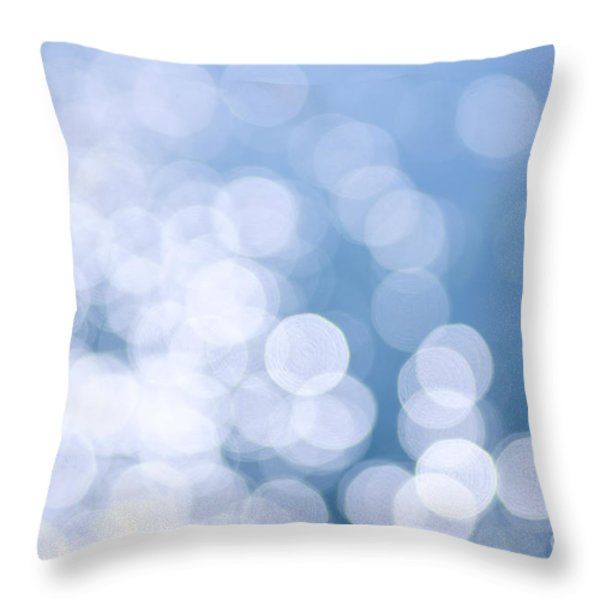 Blue water and sunshine abstract Throw Pillow by Elena Elisseeva