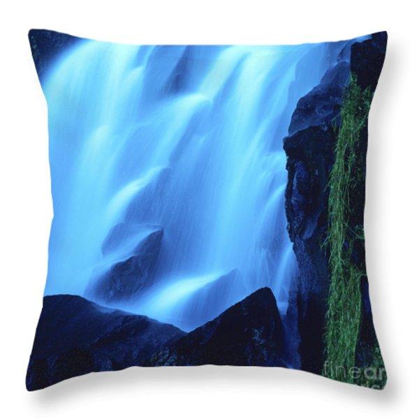 Blue Waterfall Throw Pillow by Bernard Jaubert