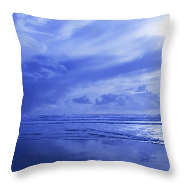 Blue Waterscape Throw Pillow by Christine Mariner