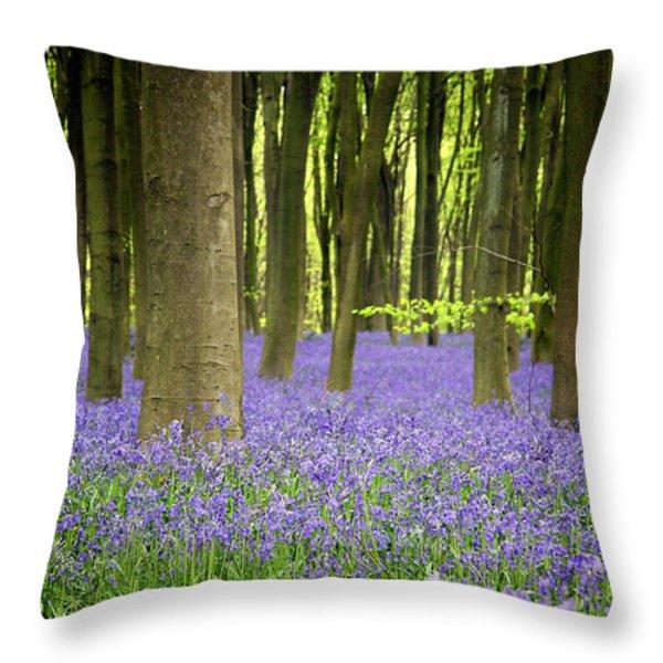 Bluebells Throw Pillow by Jane Rix
