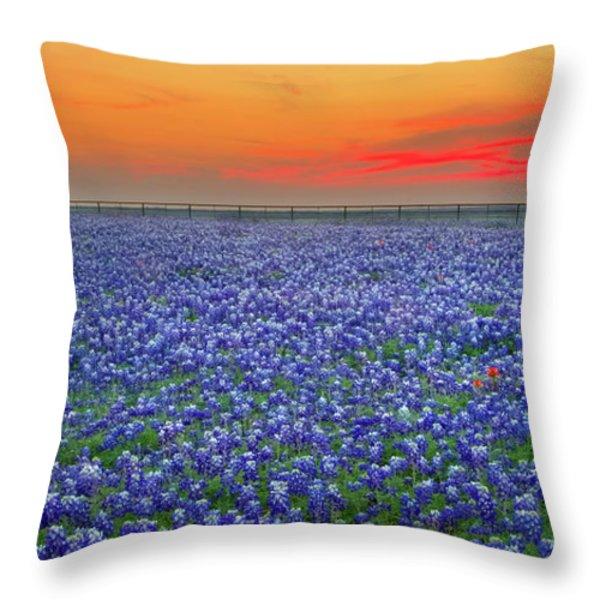 Bluebonnet Sunset Vista - Texas landscape Throw Pillow by Jon Holiday