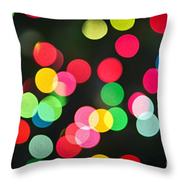 Blurred Christmas lights Throw Pillow by Elena Elisseeva