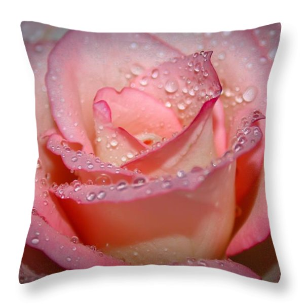 Blushing Rose Throw Pillow by Tracy  Hall