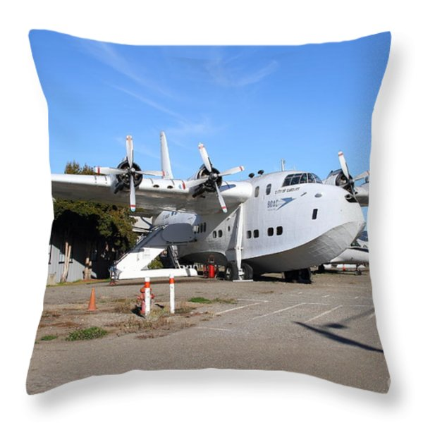 BOAC British Overseas Airways Corporation Speedbird Flying Boat . 7D11249 Throw Pillow by Wingsdomain Art and Photography