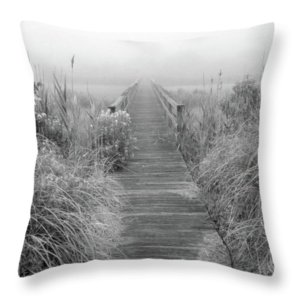 Boardwalk In Quogue Wildlife Preserve Throw Pillow by Rick Berk