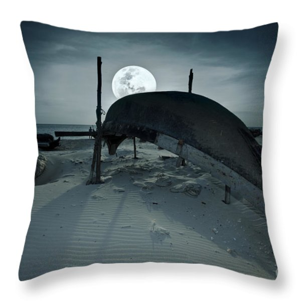 Boat and moon Throw Pillow by MotHaiBaPhoto Prints