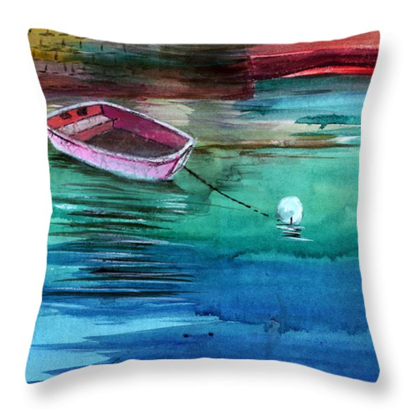 Boat and the buoy Throw Pillow by Anil Nene