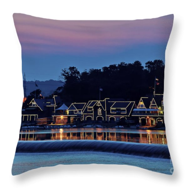 Boat House Row Throw Pillow by John Greim