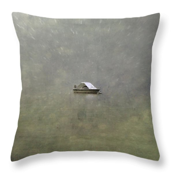 boat in the snow Throw Pillow by Joana Kruse
