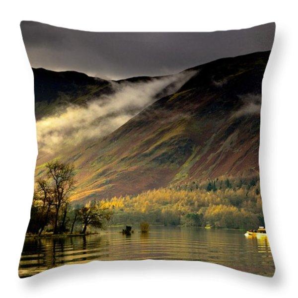 Boat On Lake Derwent, Cumbria, England Throw Pillow by John Short