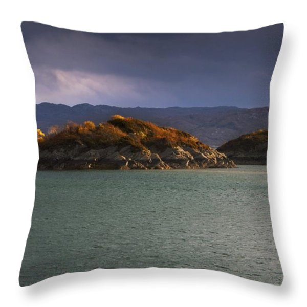 Boat On Loch Sunart, Scotland Throw Pillow by John Short