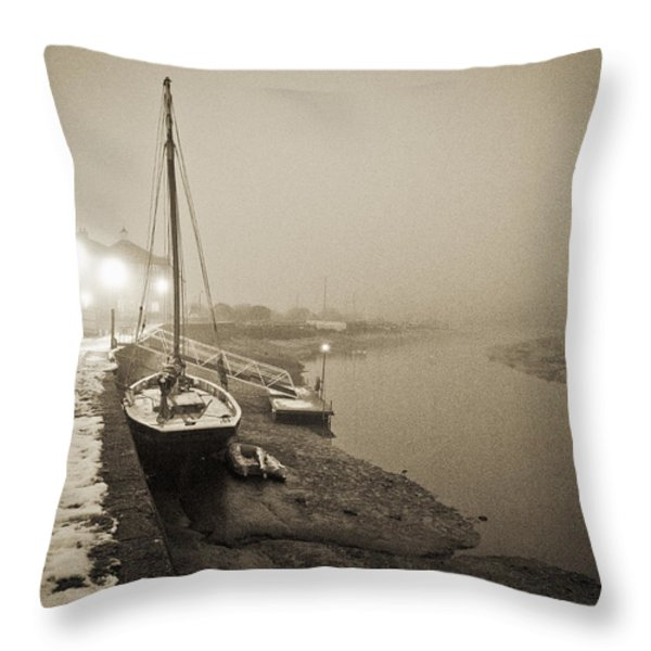 Boat on wintry quay Throw Pillow by Gary Eason
