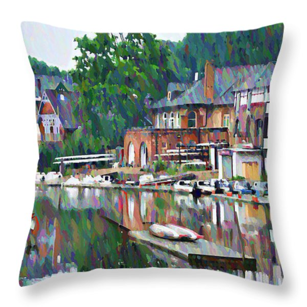 Boathouse Row in Philadelphia Throw Pillow by Bill Cannon