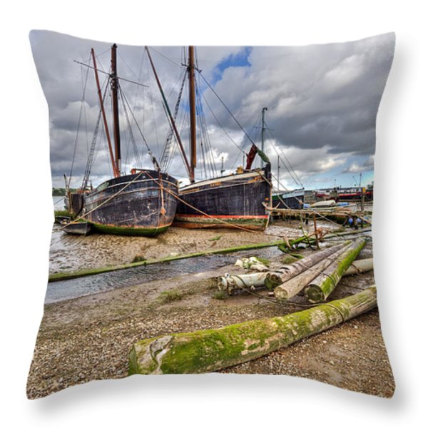 Boats And Logs At Pin Mill Throw Pillow by Gary Eason