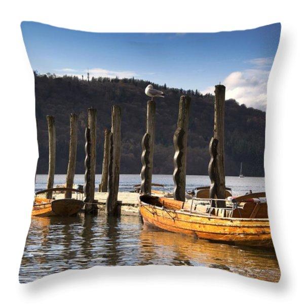 Boats Docked On A Pier, Keswick Throw Pillow by John Short