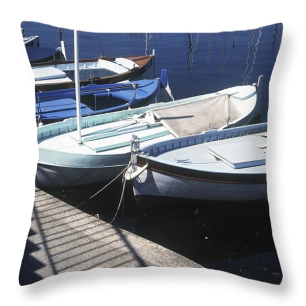 Boats In Harbor Throw Pillow by Axiom Photographic