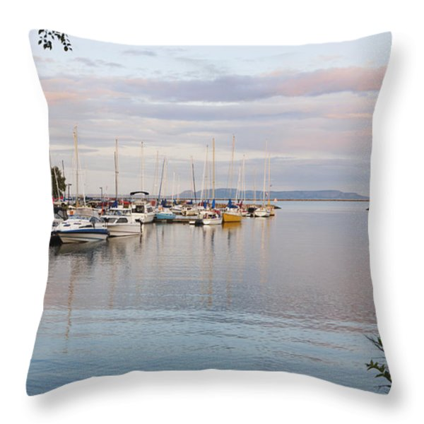 Boats In The Harbour At Sunset Thunder Throw Pillow by Susan Dykstra