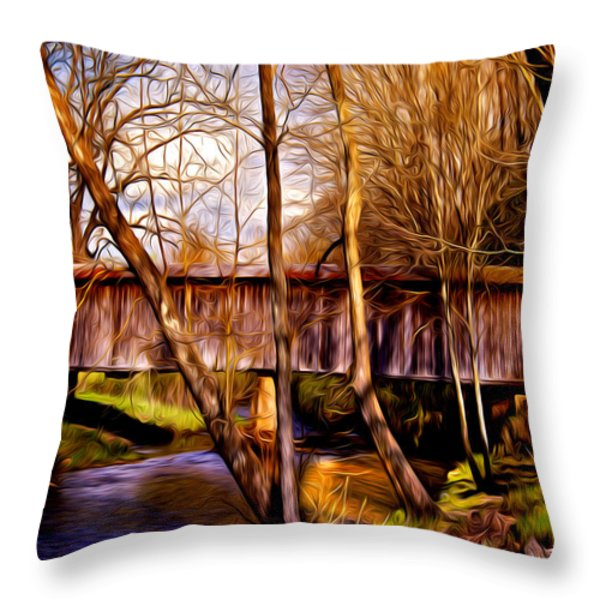 bob white covered bridge Throw Pillow by Lisa and Norman  Hall