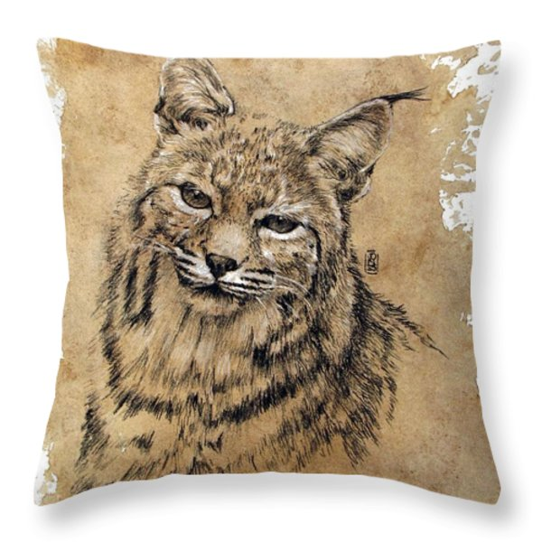 Bobcat Throw Pillow by Debra Jones